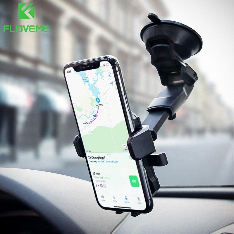 FLOVEME automático titular del teléfono del coche para Samsung Galaxy S9 S8 sostenedor Universal del coche para el teléfono en el coche para iPhone X 8 7 6 6 s más