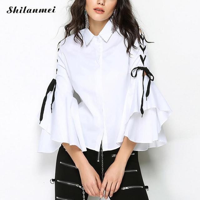 b5d44b92a Blusa mulheres Incendiar manga frio escritório senhoras blusa branca  Primavera 2018 Outono New arrivals mulher moda