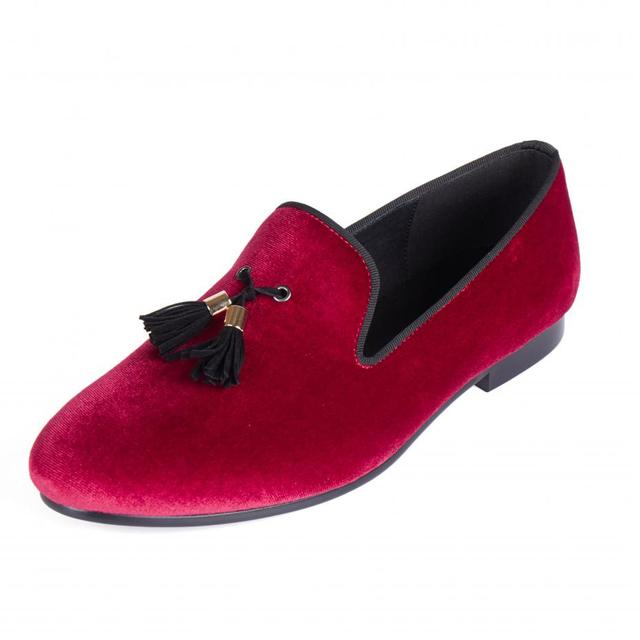 Harpelunde Men Loafers Velvet Red Flats Shoes Tassel Casual Shoes Size 6-14 6eef79d2cb96