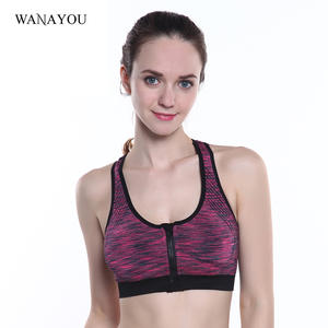 4e081c7e620cd Front Zipper Sports Bra Women Push Up Padded Wirefree Shakeproof Fitness  Yoga Bras Seamless Sports Running Top Bras 4 Colors