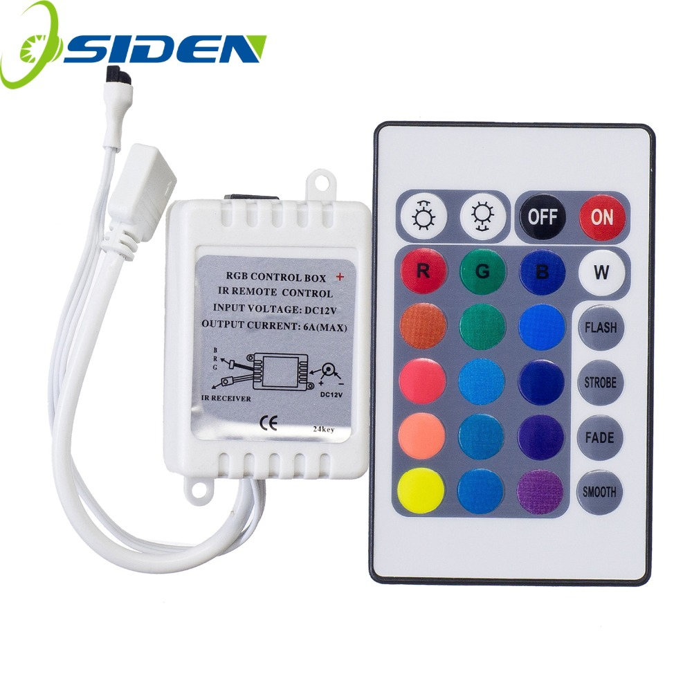 DC12V 24 Keys IR Remote RGB Controller for SMD3528/5050/5730/5630/3014 RGB LED Strip lights Mini Controller