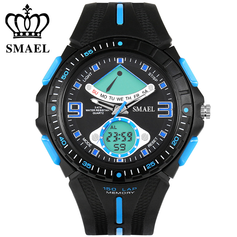SMAEL 3ATM Water Resistant Quartz Watches LED Men Dual Time Display Wristwatch Men Clock Boy Friend