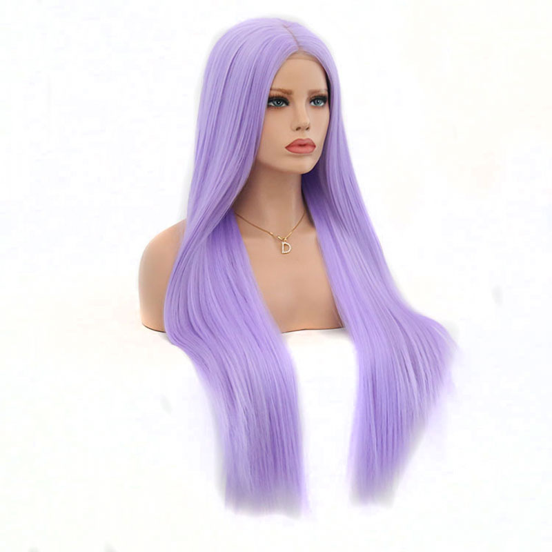Bombshell Synthetic Lace Front Wigs Light Purple Straight Hair Cosplay Party Wigs Perruque Heat Fiber Middle