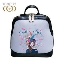 Coofit Симпатичные мини-рюкзак для девушки женщины мультфильм с цветочным принтом из искусственной кожи Bagpack для детей Женский Путешествия Bagpack рюкзак