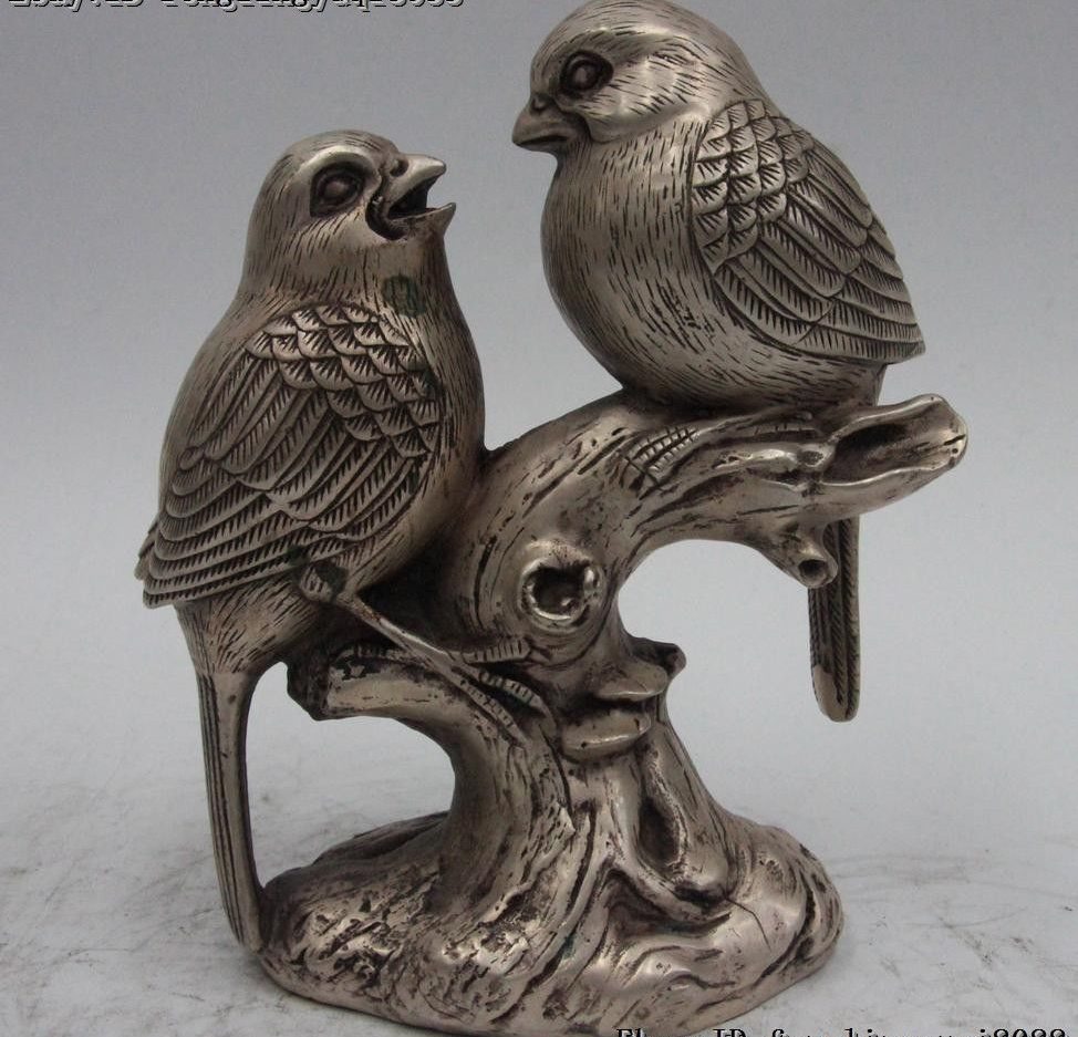 Chinese Folk White Bronze Silver lucky Two Magpie Bird Stand Tree Branch StatueChinese Folk White Bronze Silver lucky Two Magpie Bird Stand Tree Branch Statue