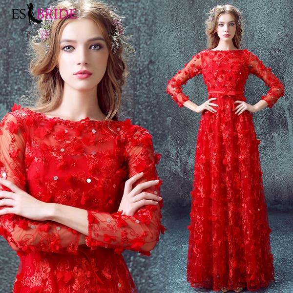 Red Evening Dresses Long Formal Elegant A-Line Plus Size Backless Lace Appliques Wedding Guest Dress Party Gown Vestidos ES2242