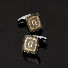 XK196 High quality men's shirts Cufflinks square golden letters D men's clothing brand Cufflinks glazed craft style
