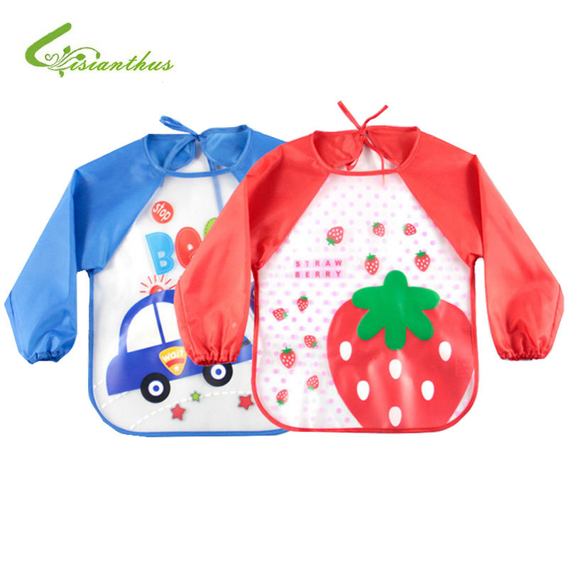 Cute Cartoon Baby Bibs Long Sleeve Apron Animal Smock Children Bib Burp Clothes Drawing Feeding Eat Toddler Waterproof Baberos