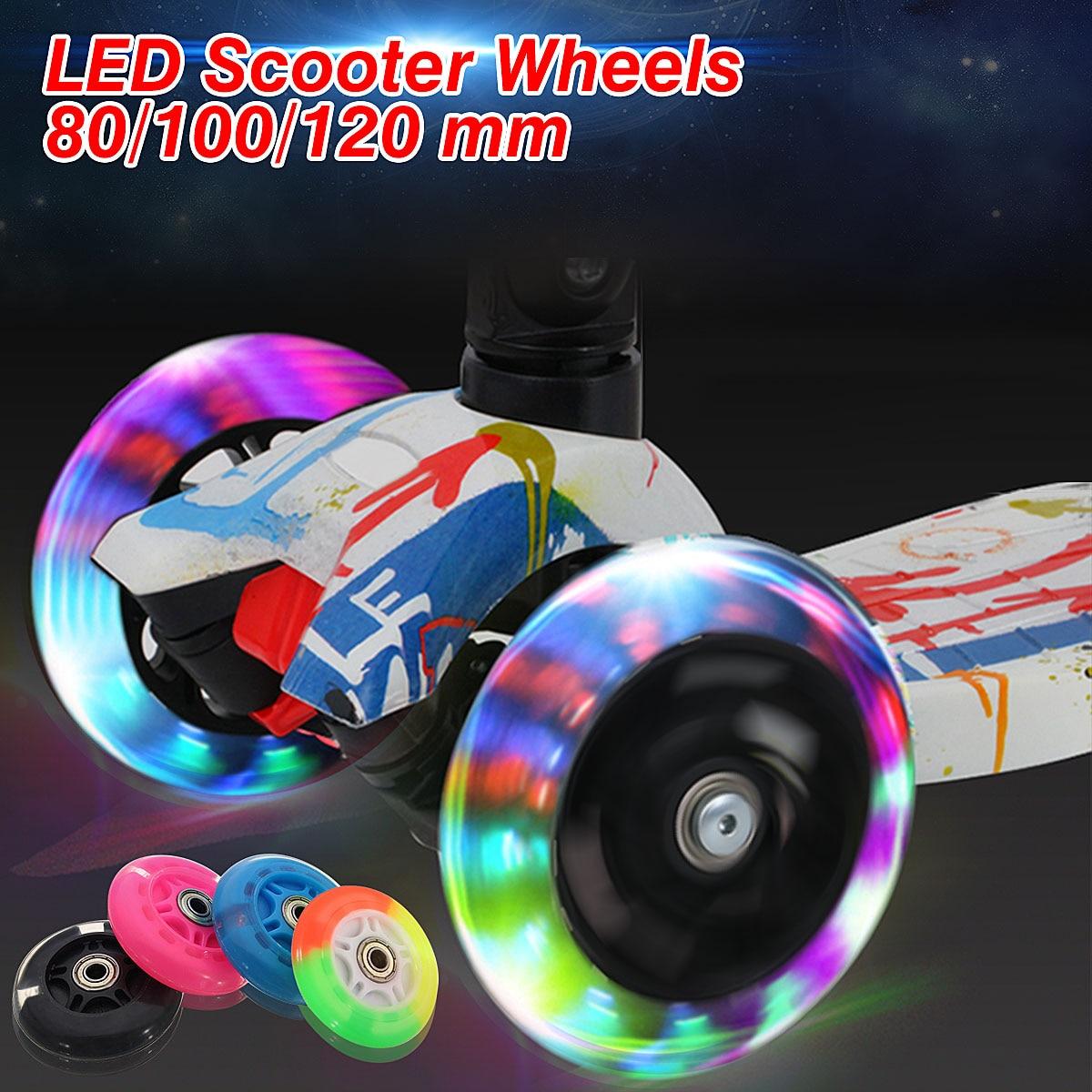 2 unids piezas rueda de Scooter LED Flash rueda de Scooter para Mini Micro Scooter con 2 rodamientos ABED-7 80mm 100mm 120mm