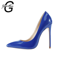 2017 Elegant Women Dark Blue Patent Leather Pointy Evening Dress Pumps High Heels Ladies Party Shoes