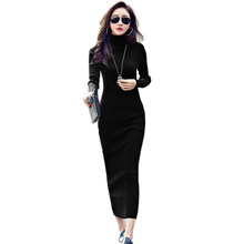 7e357389ca Autumn Winter Women Knitted Dresses New Fashion Turtleneck Lonng Sleeve  Slim Bodycon Mid-Calf Knitting