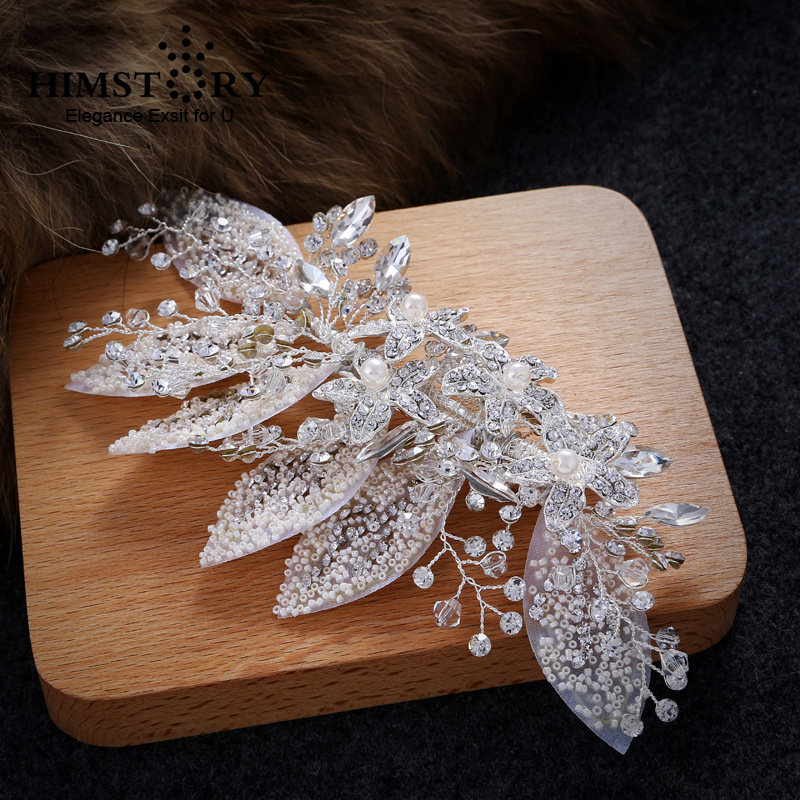 HIMSTORY NEw Silver Leaf Pearl Hairpin Bridal Headpiece Fashion Jewelry Womens Accessories Handmade Wedding Hair
