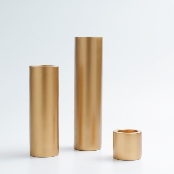 Hot Sale Modern And Brief Gold Pillar Candle Holder with Stick