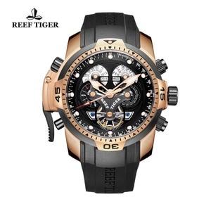 Image 4 - Relógio masculino com pulseira de borracha reef tiger/rga3503, kit de relógios de grife para homens com mostrador grande e pulseira de borracha
