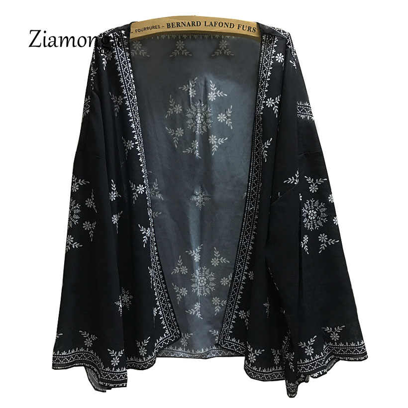 Ziamonga Delle Donne Boho Kimono Cardigan Scialle Nero Fiore Chiffon Stampato Camicette da Donna Top Manica Lunga Cover Up Big Size