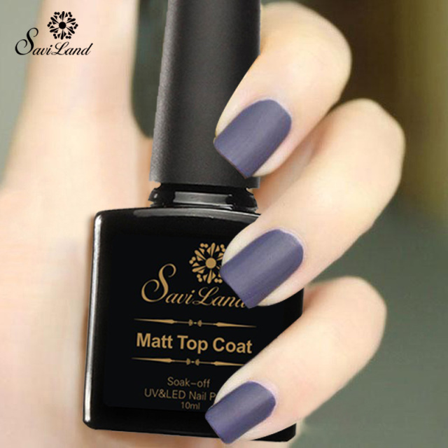 Saviland 1pcs Uv Gel Nails Matte Top Coat Nail Polish Durable Soak Off