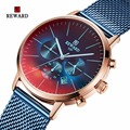 Награда мужские часы Топ бренд класса люкс хронограф мужские часы модные красочные стекла водонепроницаемые спортивные часы для мужчин ...