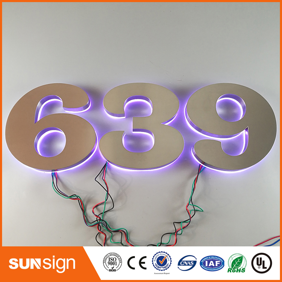 Factory Outdoor 3d Stainless Steel Illuminated Backlit Letter Sign Outlet Various Colors Of Led