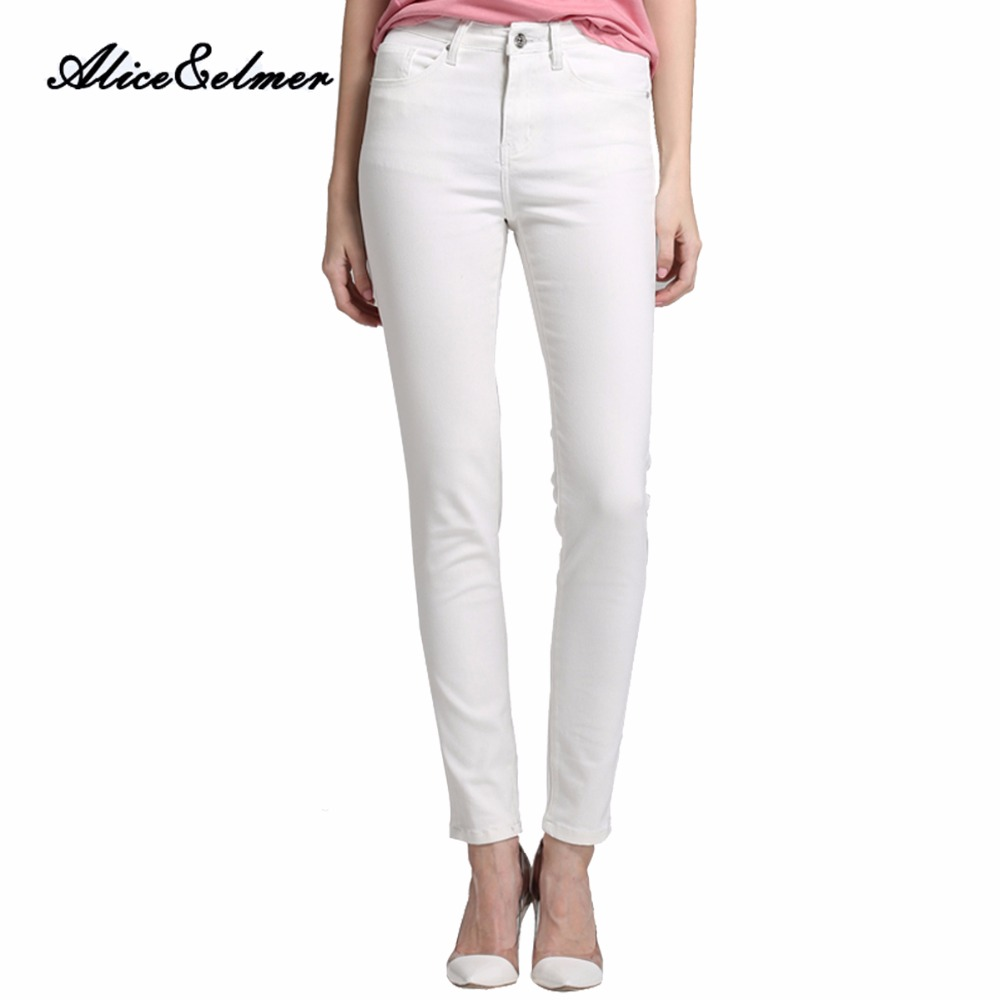 Alice & Elmer Skinny Jeans Woman Jeans For Girls Jeans Women High Waist Stretch Jeans Female Pants White