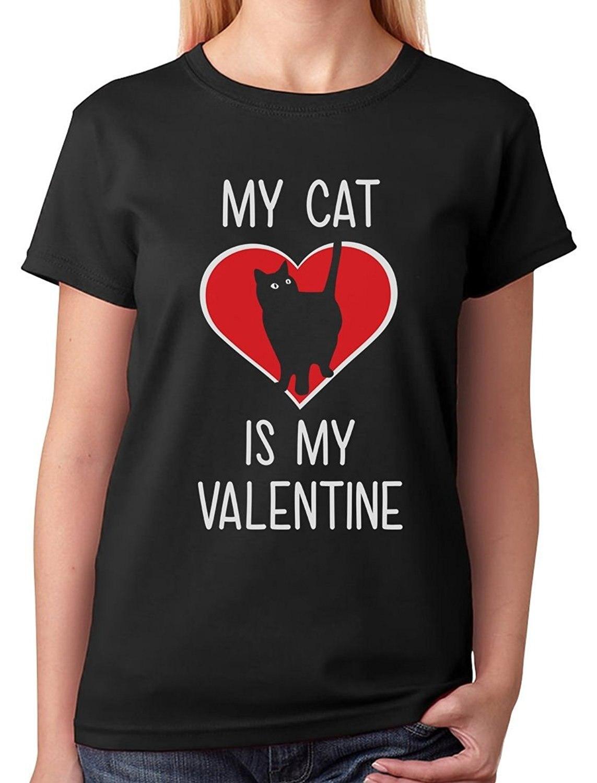 T Shirt Shop Online Crew Neck Women Short-Sleeve Best Friend My Cat Is My Valentine ValentineS Gift For Cat Lover Shirts