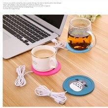 Dispositivo calentador USB de silicona de dibujos animados taza-almohadilla delgada café té bebida usb soporte caliente para bebidas almohadilla para taza buen regalo
