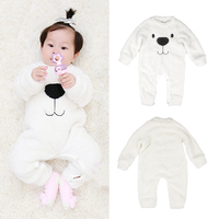 Baby Girls Boys Rompers Cute Cartoon Bear Autumn Winter Coral Cashmere Fleece Jumpsuit Warm Outerwear Kids