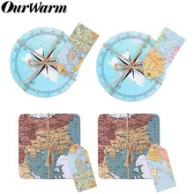 OurWarm 50/10Pcs Travel Theme Wedding Souvenirs World Maps Compass Cork Coasters with Tag Anniversary Favors and Gifts