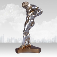 Ancient Greece Naked Male Sculpture Handmade Resin Greek People Statue Craft Ornament for Art Collection and Room Decoration