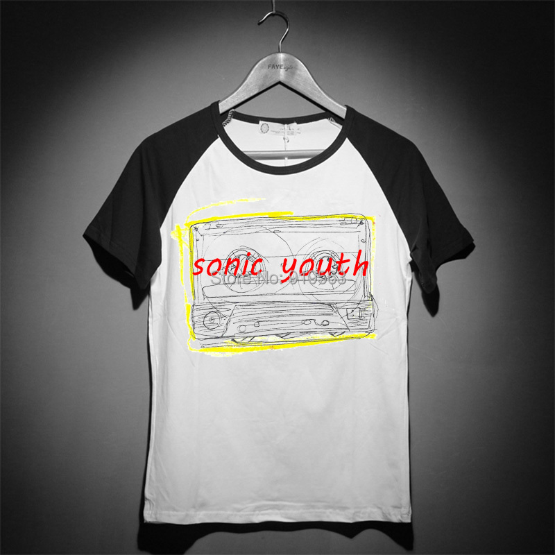 sonic youth logo balck and white handdrawing sketch vintage fashion tee shirt good quality