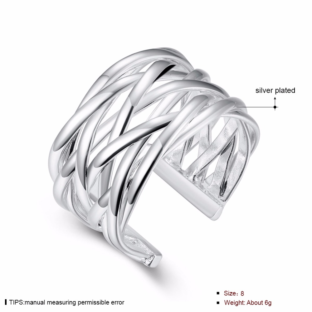 AMOURJOUX Open Braided Wide Silver Plated Jewelry Ring For Women Silver Rings For Wedding Party Size Adjustable Wholesale R022