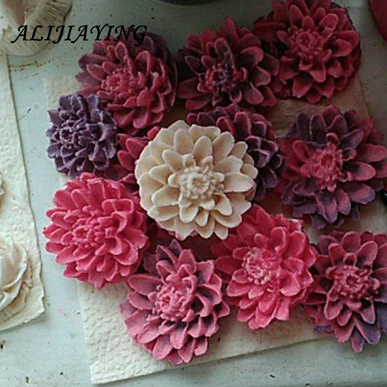 3d crisântemos sabão molde resina argila chocolate doces silicone bolo molde flor fondant ferramentas de decoração do bolo d0158