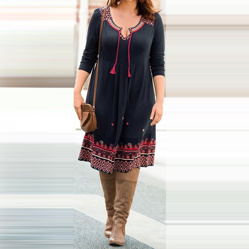 new plus size lace-up knee dress Women Casual loose Long sleeve V neck print beach Dress boho style spring dresses female
