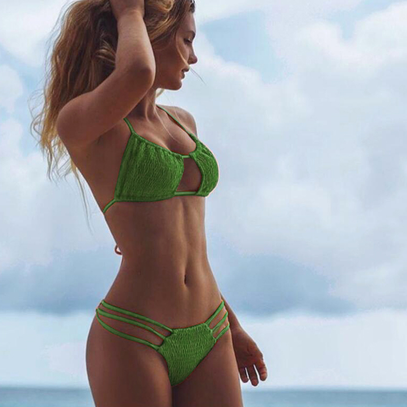 Womens String Bikini 2019 Ruffle Swimsuit Bondage -5274