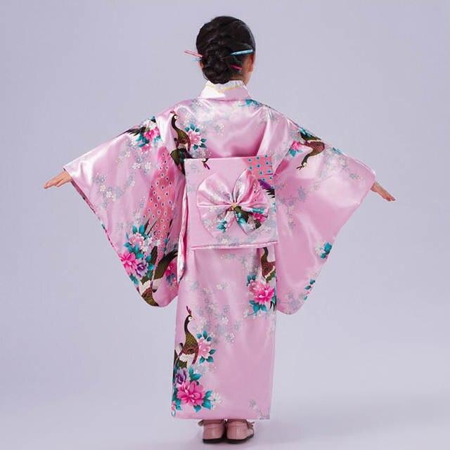 placeholder Novelty Pink Japanese Baby Girl Kimono Gown Children Yukata  With Obi Kid Performance Dance Dress Child aa8bc28fd29a