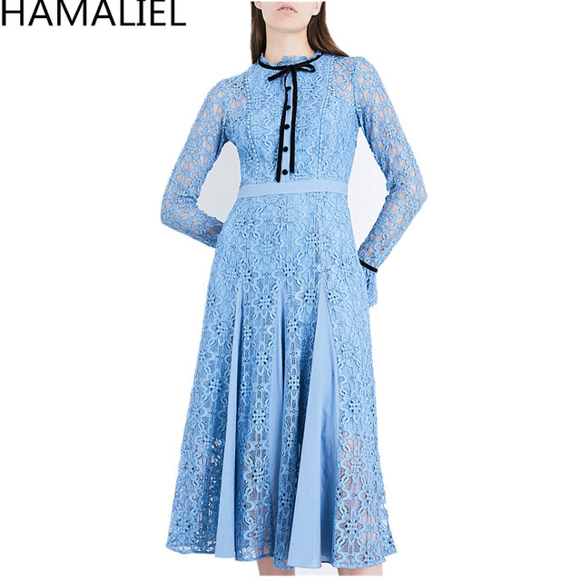 0c3f4ea1549ad HAMALIEL 2018 Designer Runway Autumn Women Dress European Style Blue  Patchwork Long Flare Sleeve Hollow Out Bow Midi Party Dress-in Dresses from  ...