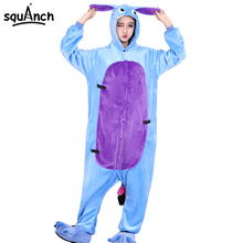 Donkey Onesie  Cartoon Animal Overall Eeyore Kugurumi Pajama Adult Couple Men Women Blue Funny Suit High Quality Thicken Flannel
