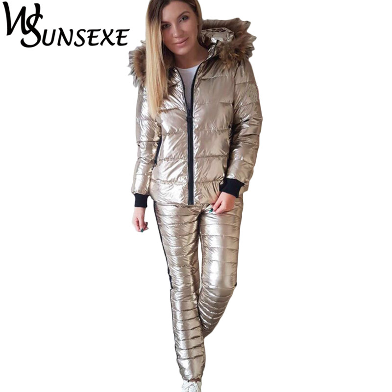 bbe1aa8c654057 Winter Warm 2 Piece Sets Metal Silver Jacket Suits Women Fur Hooded Zipper  Cotton Padded Coat Parka and Long Pants New Outerwear-in Women s Sets from  ...