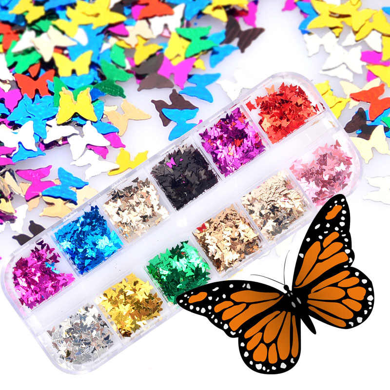 12 Stijlen Vlindervorm Nail Flakes Paillette 3d Laser Glitter Vlinderdas Pailletten Nail Art Decoraties Diy Beauty Tips