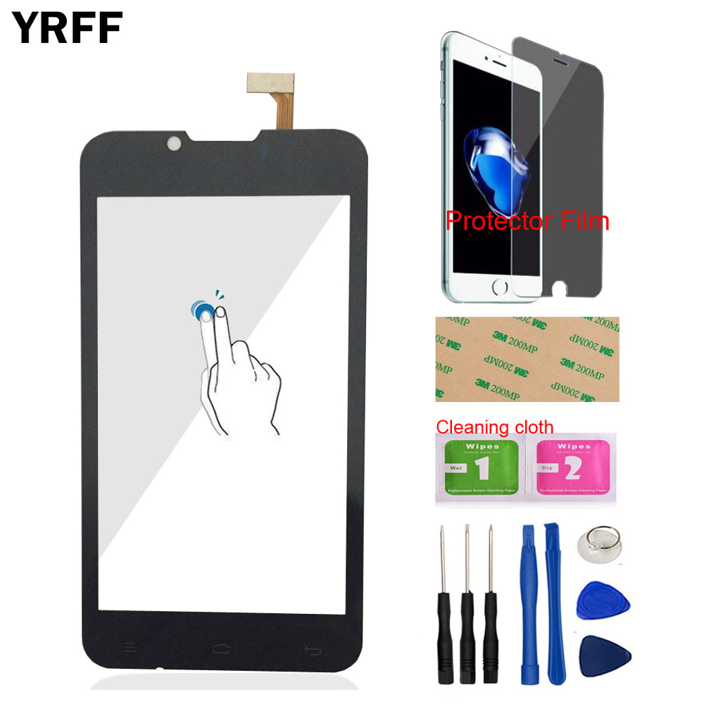 YRFF 4.3'' Mobile Phone Touch Front Glass For Fly IQ441 IQ 441 Touch Screen Digitizer Panel Sensor Tools Protector Film Adhesive