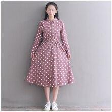 Autumn fashion corduroy dress 2018 hot new long sleeve women casual polka dot dress