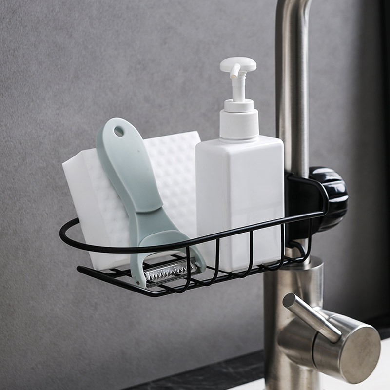 Punch Free Faucet Storage Rack Drain Storage Shelf Sink Tap Hanging Storage Holder Bathroom Kitchen Sink Storage Rack