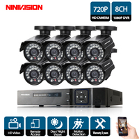 NINIVISION HD 8CH CCTV System 8 Channel 1080P DVR 8PCS 1.0MP Bullet Outdoor Home Video Security Camera System Surveillance Kits