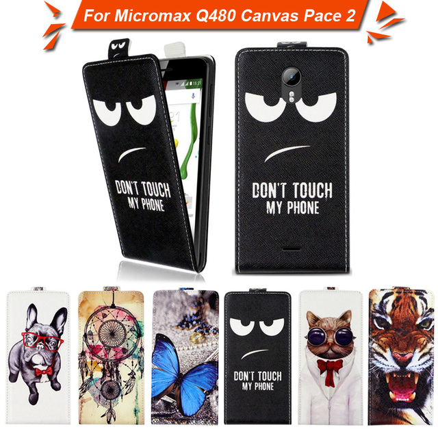 High quality fashion cartoon pattern flip up and down leather case for Micromax Q480 Canvas Pace 2,Free gift