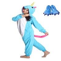 Adults Unisex Winter Onesies Women Long Sleeves Halloween Costume Blue Unicorn Onesies Flannel Animal Sleepwear With