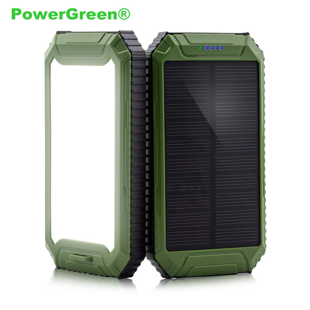 PowerGreen Solar Battery Charger Dual Outputs External Battery Backup 10000mAh 5V 2A Mini Solar Panel for Cell Phones