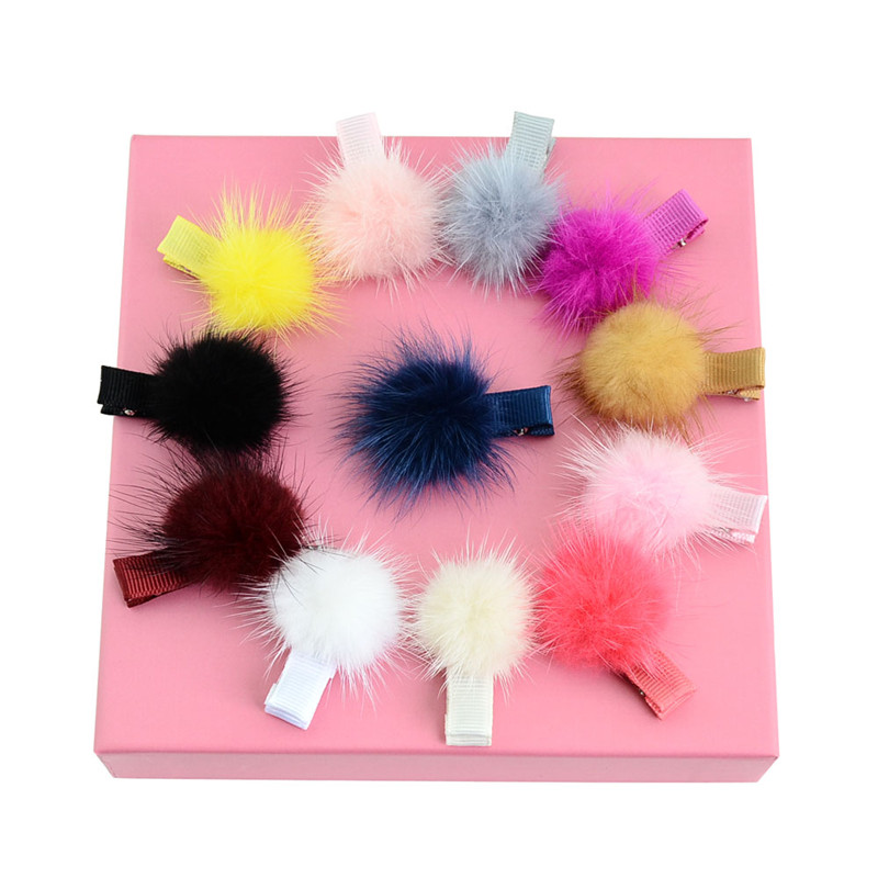 12pcs Newborn Solid Mink Fur Pompom Ball Girls Small Hairclip Baby Kids Hairpins Hair Accessories For Children Pom Clips Pins