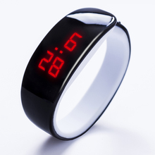 Fashion 2018 lady gift LED Watch , Oval red light display women wristwatch , creative pretty fashion digital Bracelet watches