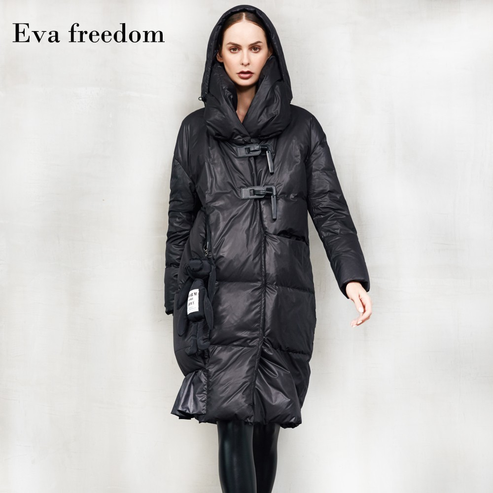 2019 Winter New Arrival Women's Fashion Loose Black Down Coat Long Thick Hooded Down Jacket Women 0163