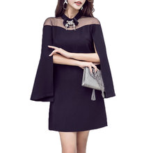 A black cloak sexy party dress new woman clothes fashion design outfit vestidos mesh cape dresses mini girl