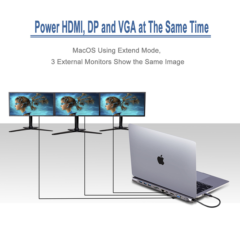 Baolyda USB-C Dock Thunderbolt 3 adaptateur 11in1 Type C moyeu avec HDMI RJ45 VGA USB3.0 tout en un moyeu pour MacBook & c-type ordinateur portable - 5